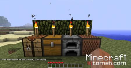 Как  поставить факел на печку/сундук/верстак/музыкальный блок.