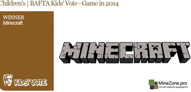 Minecraft победил в Kids' Vote на BAFTA Children's Awards