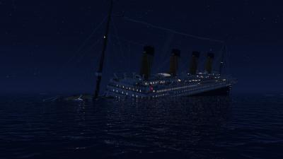 RMS Titanic sinking at 1.45 AM